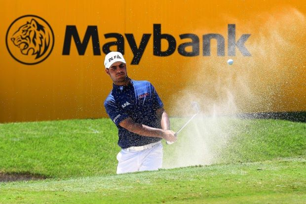 India's Shubankar Sharma in the bunker