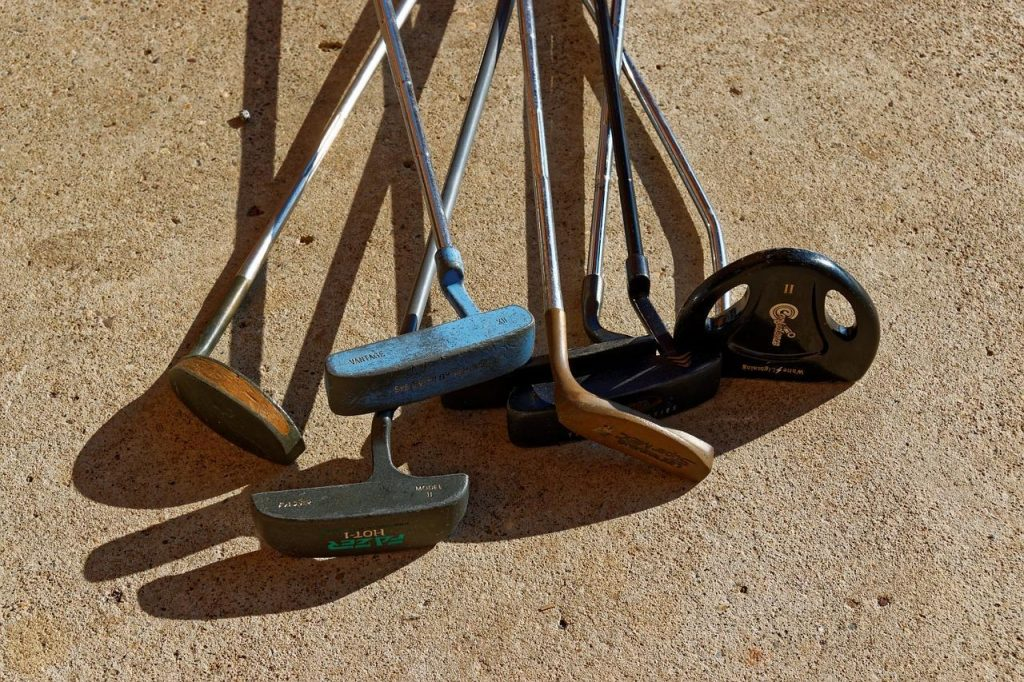 used golf putters close up