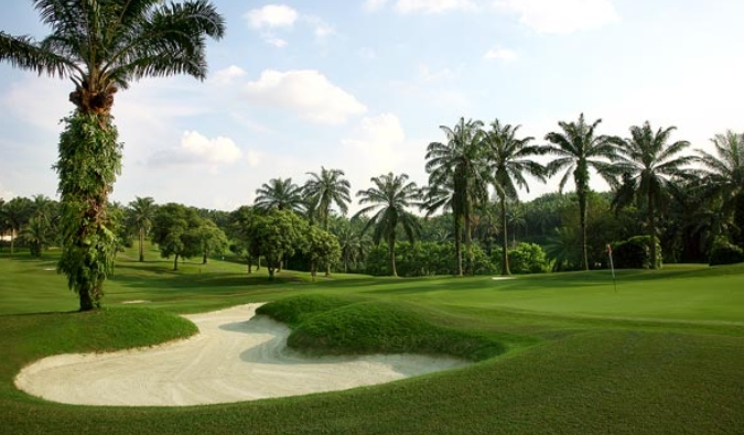 saujana golf & country club golf course with palm oil trees